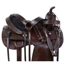 Dark Brown Comfy Western Tooled Leather Horse Saddle Tack Set