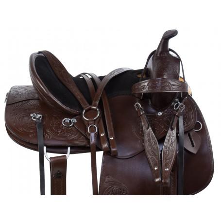 Contoured Western Pleasure Trail Endurance Horse Saddle Tack Set