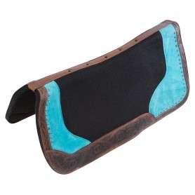 Dark Antique Turquoise Felt Western Leather Horse Saddle Pad