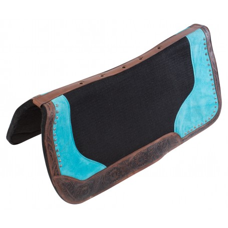 Dark Antique Turquoise Felt Western Leather Horse Saddle Pad