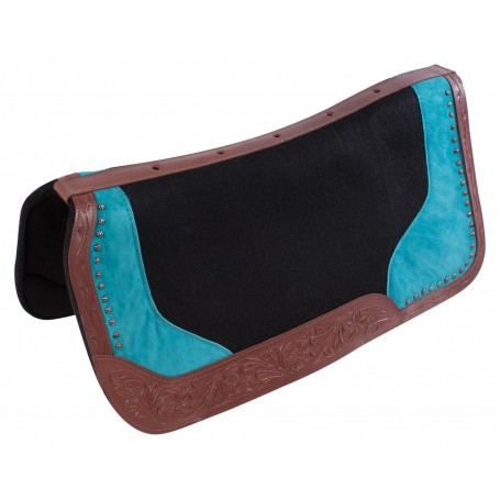 Hand Carved Blue Wool Felt Barrel Racer Trail Horse Saddle Pad