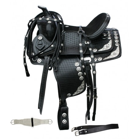 Black Show 15 Texas Star saddle ,Bridle ,Breast collar set