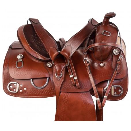 Hand Tooled Western Leather Training Trail Horse Saddle Tack Set