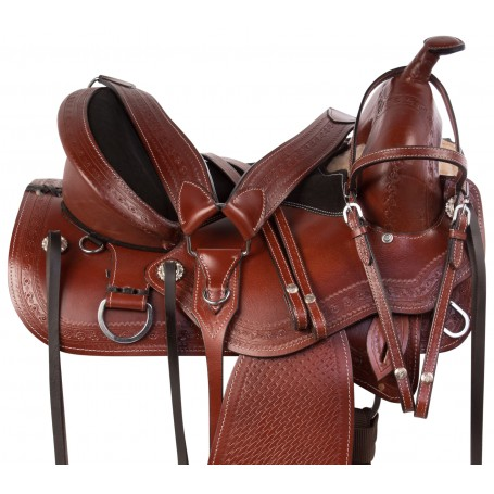 Treeless Western Pleasure Trail Leather Tooled Horse Saddle Tack Package