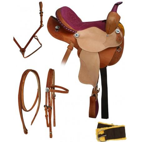 Cowgirl Pink Suede Seat Barrel Racing Saddle 14  16