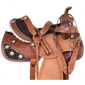 Crystal Pro Western Leather Barrel Racing Horse Saddle Tack Set
