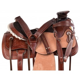 Rough Out Wade Tree Roping Ranch Western Leather Horse Saddle Tack Set