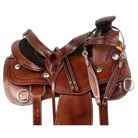 Hand Carved Western Wade Tree Roping Leather Training Horse Saddle Tack