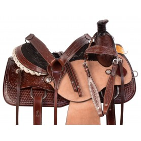 Rough Out Hand Carved Western Leather Ranch Roping Horse Saddle Tack