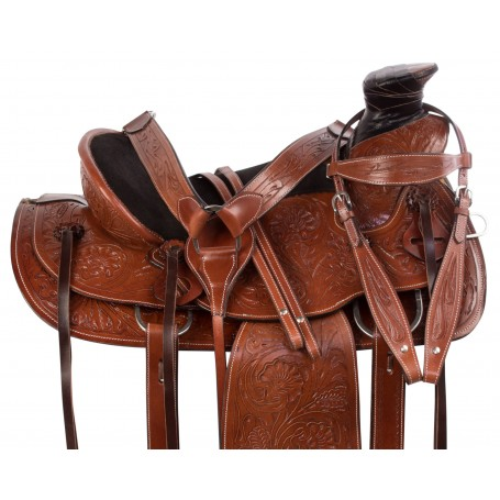 Classic Tooled Western Leather Comfy Roping Ranch Wade Tree Horse Saddle Tack