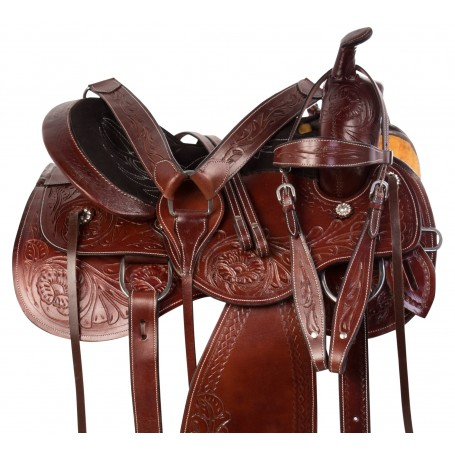 Classic Tooled Comfy Mahogany Western Pleasure Trail Leather Horse Saddle Tack