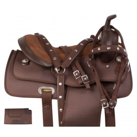 Brown Synthetic Light Wight Western Trail Pleasure Horse Saddle Tack Set