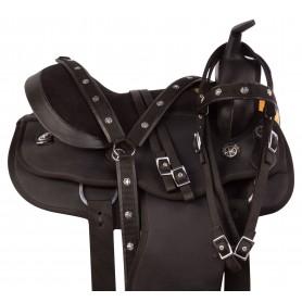 Black Synthetic Round Skirt Western Pleasure Trail Horse Saddle Tack Set