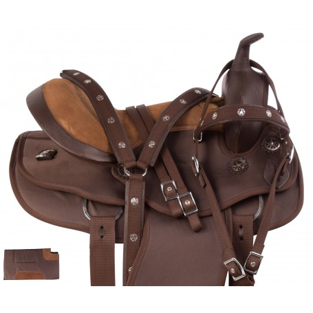 Light Weight Brown Synthetic Western Round Skirt Trail Horse Saddle Tack Set