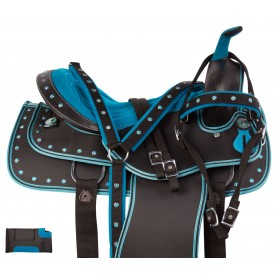 Blue Crystal Synthetic Western Show Trail Horse Saddle Tack Set
