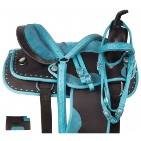 Turquoise Blue Western Crystal Synthetic Show Trail Horse Saddle Tack
