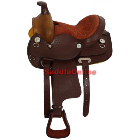 Premium Hand Tooled Kids 10 Saddle