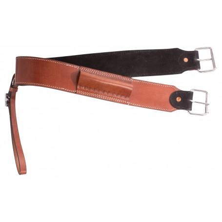 Tan Chestnut Smooth Leather Western Flank Strap Back Cinch