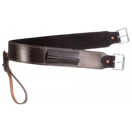 Black Western Leather Back Cinch Buckle Rear Girth