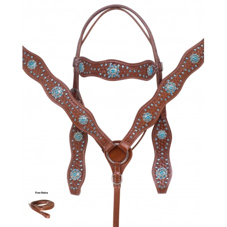 Turquoise Blue Western Leather Tooled Silver Show Horse Tack Set