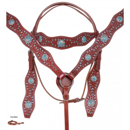 Red Mahogany Western Tooled Blue Crystal Barrel Racing Show Horse Tack Set