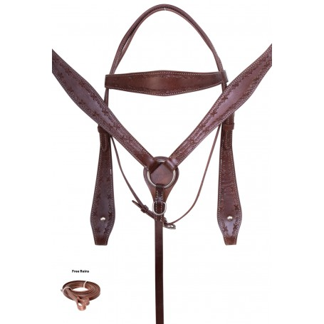Brown Tooled Western Cowboy Ranching Leather Horse Tack Set