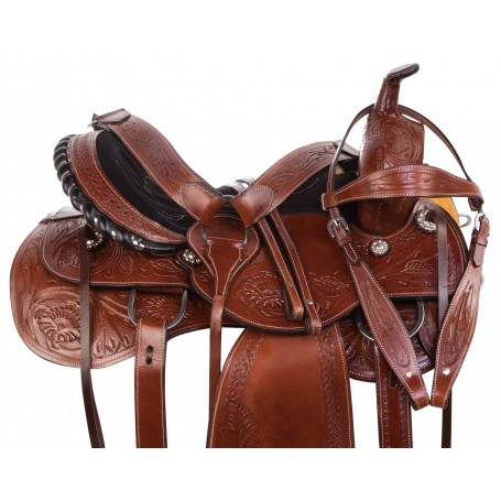 Western Tooled Leather Barrel Racer Pleasure Trail Horse Saddle Tack Set