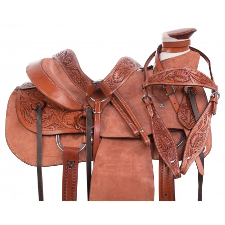 Durable Wade Tree Roping Rough Out Western Leather Ranch Work Horse Saddle Tack