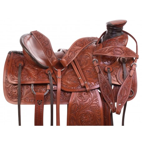 Hard Seat Western Tooled Leather Wade Tree Ranching Roper Horse Saddle Tack Set