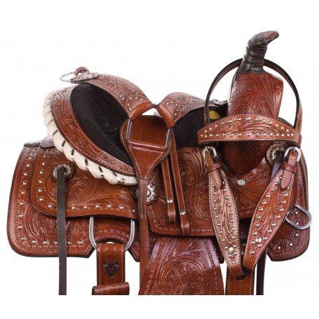 """10"""" Children Youth Western Leather Kids Roping Ranch Pony Saddle Tack"""