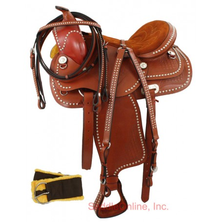 16.5 PARADE CHERRY SHOW WESTERN HORSE SADDLE  & TACK