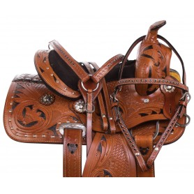 Children Youth Western Leather Tooled Kids Pony Barrel Racing Trail Saddle Tack