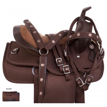 "10"" Light Weight Brown Synthetic Western Children Youth Pony Saddle Tack Set"