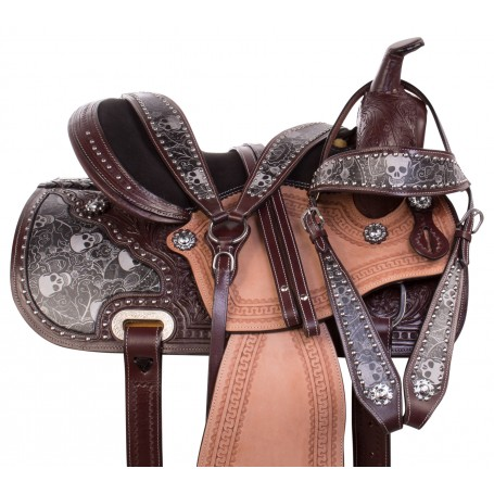 Gothic Skull Barrel Racing Western Trail Show Leather Horse Saddle Tack Set