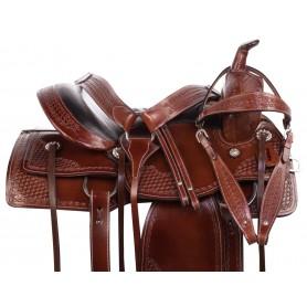 Comfy Cush Seat Western Leather Pleasure Trail Horse Saddle Tack Set