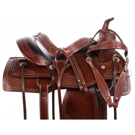 Comfy Cush Seat Western Leather Pleasure Trail Horse Saddle Tack Set