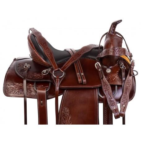 Memory Foam Seat Western Tooled Trail Endurance Leather Horse Saddle Tack Set