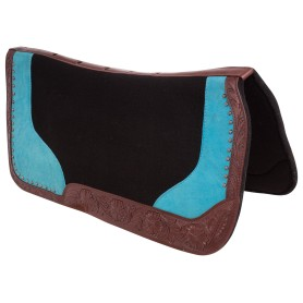 Brown Tooled Leather Western Wool Felt Turquoise Corrective Horse Saddle Pad