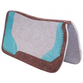Grey Felt Western Therapeutic Turquoise Bling Leather Tooled Horse Saddle Pad