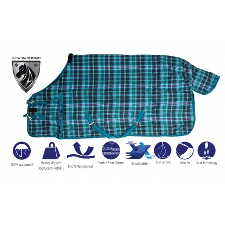 Turquoise Plaid 1200 Denier Winter Horse Blanket Water Repellent Heavy Duty