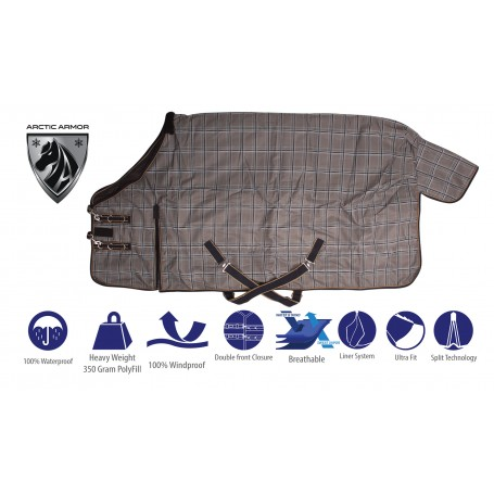 Heavy Duty Turnout Grey Plaid Winter Horse Blanket 1200 Denier 350 Polyfill Waterproof