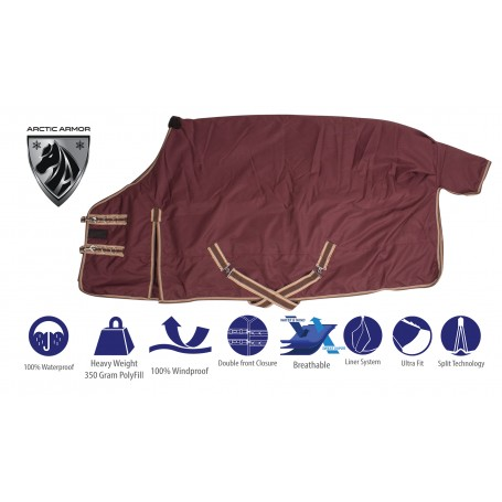 Brown Heavy Duty 1200 Denier 350g Polyfill Water Repellent Turnout Winter Horse Blanket