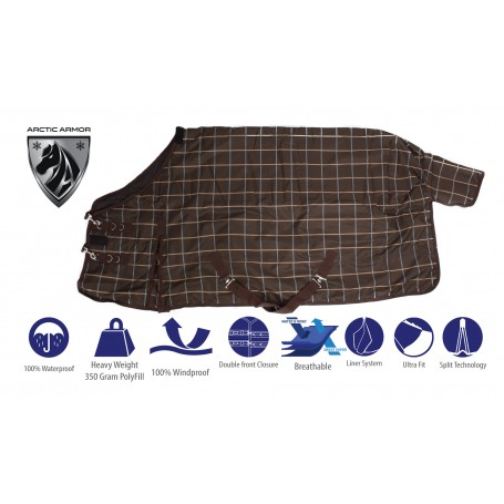 Brown Plaid Waterproof 1200D 350g Fill Heavy Weight Turnout Winter Horse Blanket