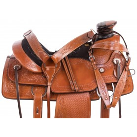 Cattle Work Chestnut Wade Tree Roping Ranch Premium Leather Horse Saddle Tack Set
