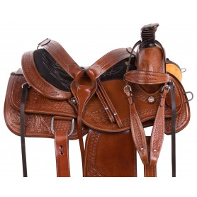 Cowboy Ranch Work Roping Western Leather Comfy Seat Tooled Horse Saddle Tack