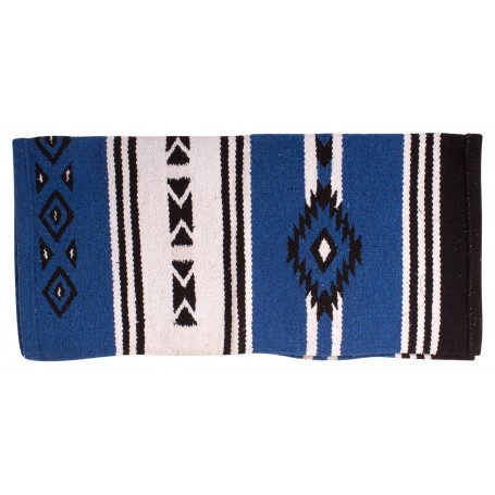 New Zealand Wool Royal Blue Western Aztec Saddle Blanket 33x31