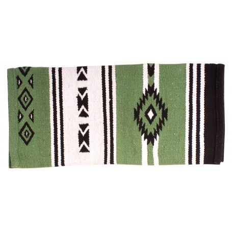 Beautiful Green Aztec New Zealand Wool Western Show Saddle Blanket 34x31