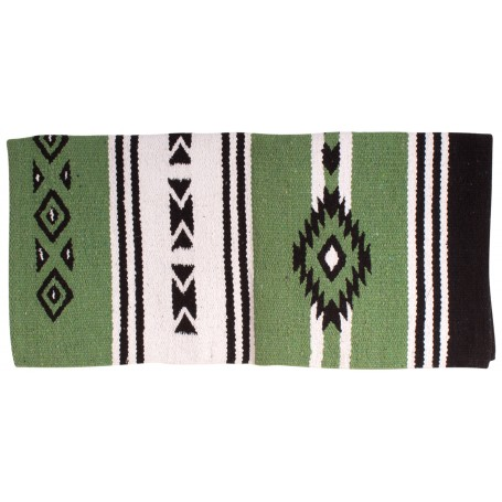 Green Aztec Hand Woven New Zealand Wool Western Show Saddle Blanket 33x32