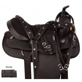 Gaited Black Synthetic Round Skirt Western Trail Horse Saddle Tack Set