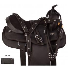 Gaited Black Synthetic Round Skirt Western Trail Horse Saddle Tack Set